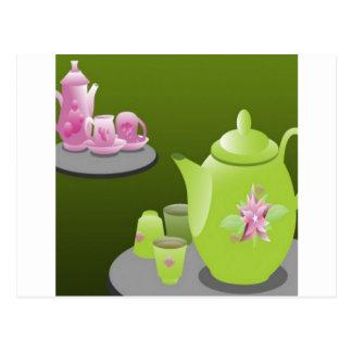 Green tea sets design postcard