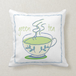 Green Tea Tea Party Square Pillow Cushion