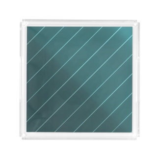 Green Teal Aqua Diagonal Pin Stripe Perfume Make U Acrylic Tray