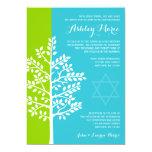 Green Teal Blue Tree of Life Bat Mitzvah 13 Cm X 18 Cm Invitation Card