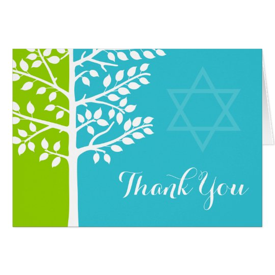 Green Teal Blue Tree of Life Bat Mitzvah Thank You Card