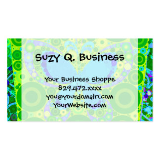Green Teal Butterfly Concentric Circles Mosaic Business Card Template