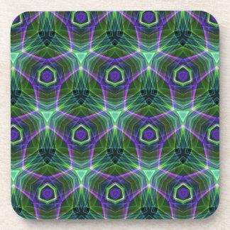 Green Teal Lavender Geometric Seamless Pattern Beverage Coasters