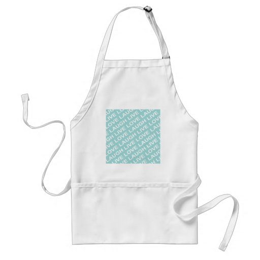 Green Teal Love Text Pattern Apron