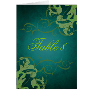 Green & Teal Scroll Table Card