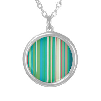 Green Teal Stripes Pattern Round Pendant Necklace