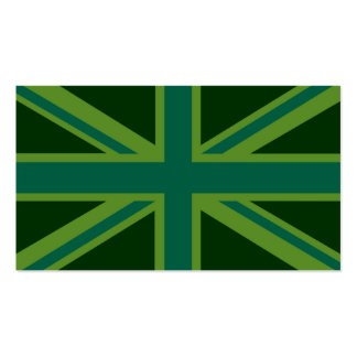 Green Teal Union Jack British Flag Background Business Card Templates