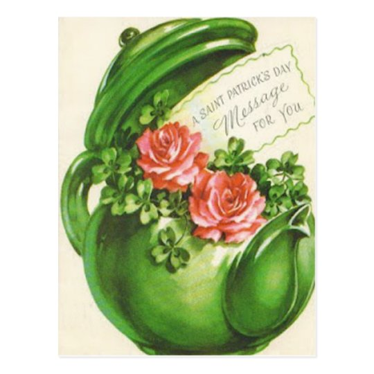 Green Teapot Rose Shamrock St Patrick's Day Postcard