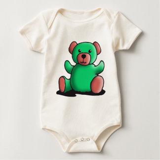 green teddy bear baby bodysuit
