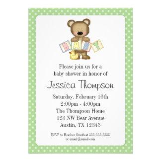 Green Teddy Bear Blocks Baby Shower Invitations Invitations