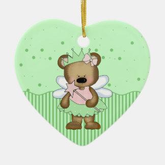 Green Teddy Bear Fairy Princess Heart Ornament