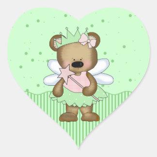 Green Teddy Bear Fairy Princess Heart Stickers Sticker