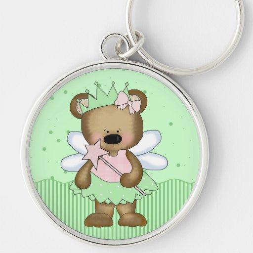 Green Teddy Bear Fairy Princess Key Chain