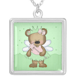 Green Teddy Bear Fairy Princess Necklace Personalized Necklace