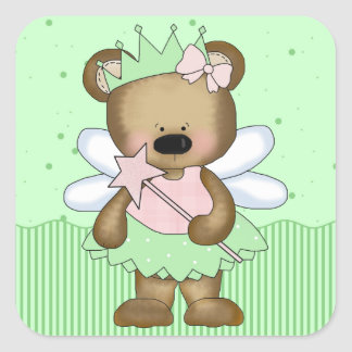 Green Teddy Bear Fairy Princess Square Stickers Square Stickers