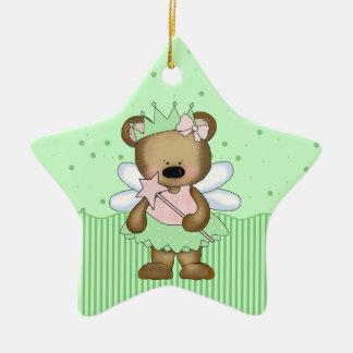 Green Teddy Bear Fairy Princess Star Ornament