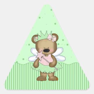 Green Teddy Bear Fairy Princess Triangle Stickers Sticker