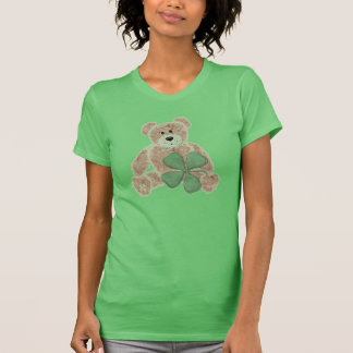 Green teddy bear shamrock St. Patricks day tee