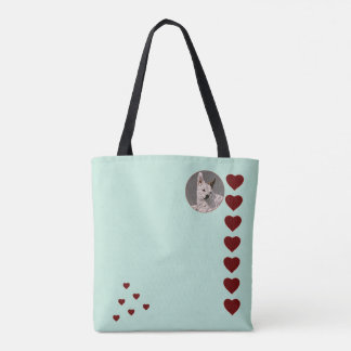 Green Template with Hearts Tote Bag