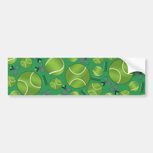 Green tennis balls rackets and nets bumper stickers