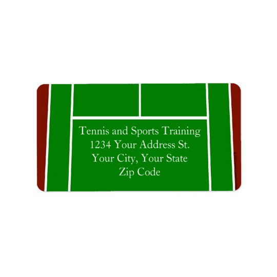 Green Tennis Court Design Address Label