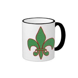 Green Textured Fleur de Lis Ringer Coffee Mug