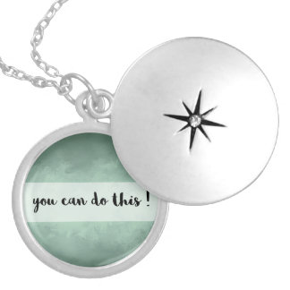Green Textured Motivational Message Necklace