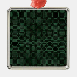 Green textured squares pattern Silver-Colored square decoration