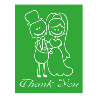 Green Thank You Bride & Groom Wedding Post Card