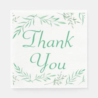 Green Thank You Laurel Leaf Wedding Party Paper Napkin