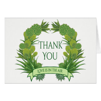 Green Thank You Succulent Cactus Southwest Wedding Card