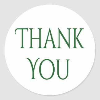 Green Thank You - Wedding, Party, Business Classic Round Sticker