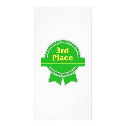 Green Third Place Ribbon Photo Greeting Card