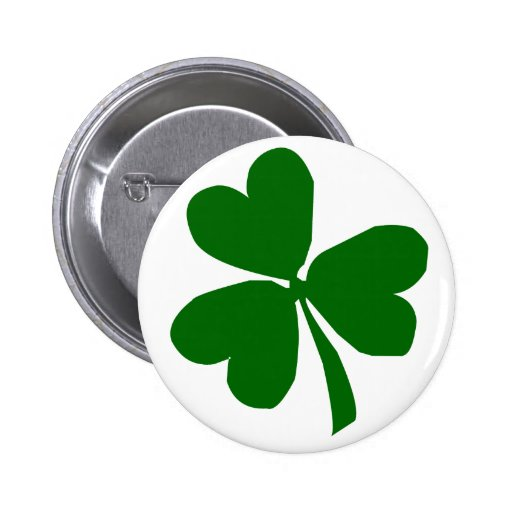 Green Three Leaf Clover Pinback Buttons