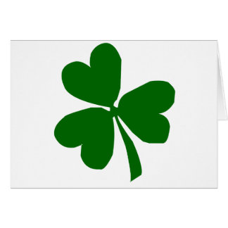 Green Three Leaf Clover Greeting Cards