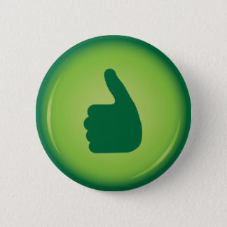 Green thumbs up or like pinback button