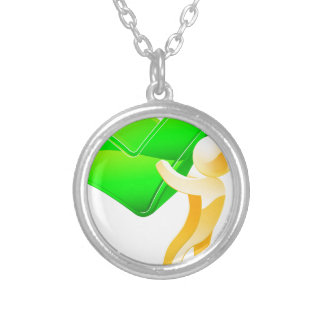 Green tick person personalized necklace