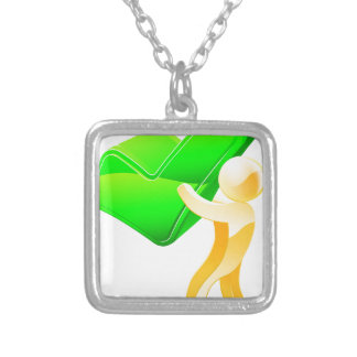 Green tick person necklaces