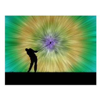 Green Tie Dye Golfer Silhouette Postcard
