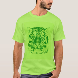 Green Tiger Face T-Shirt