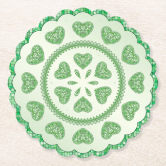 Green Tile Hearts in Round Geometric Pattern Paper Coaster