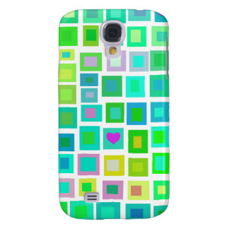 Green Tiles with a Purple Heart Galaxy S4 Case