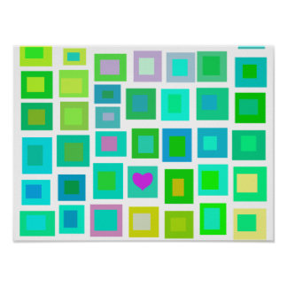 Green Tiles with a Purple Heart Poster