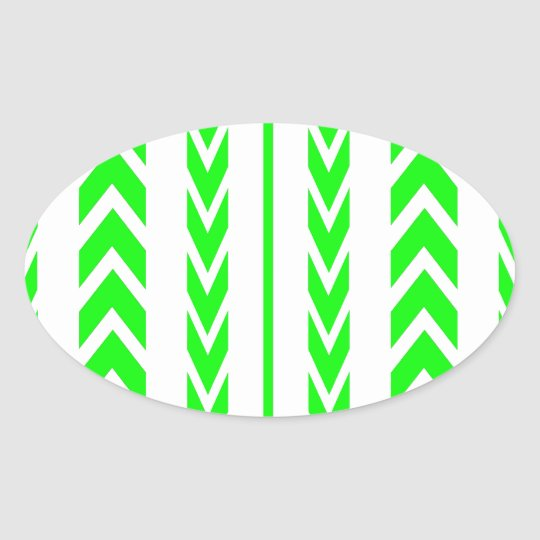 Green Tire Tread Oval Sticker