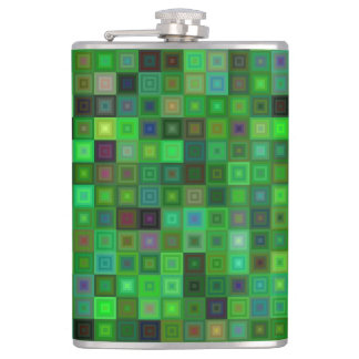 Green tone squares hip flask