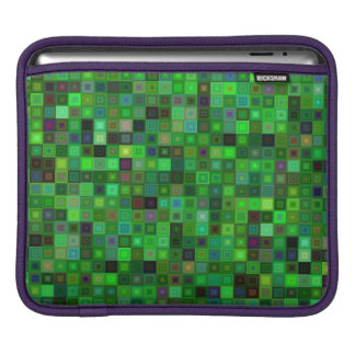 Green tone squares iPad sleeve