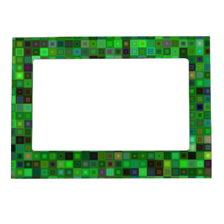 Green tone squares magnetic picture frame