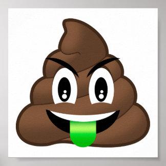 Green Tongue Crazy Poop Emoji Poster