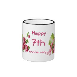 Green top hat and roses, Happy 7th Anniversary Mug