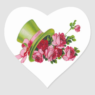 Green Top hat and roses Heart Sticker